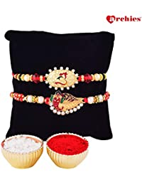 Archies Rakhi for Brother, Beautiful Om Rakhi & Ganesha Rakhi with Roli Tika- Set of 3