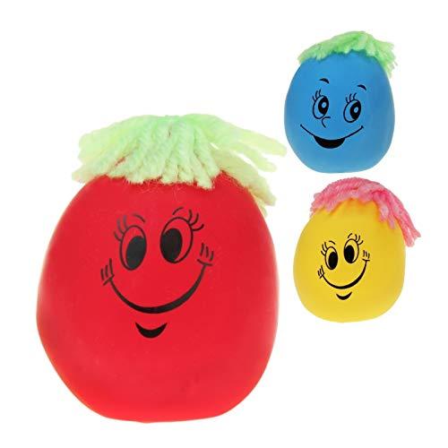 KSS 1 X Knautschgesicht Ca. 7cm + Wollhaaren, Stressball, Knetball, Antistressball , für Kindergeburtstag , Tombola , Verlosung , Mitgebsel , Mitbringsel