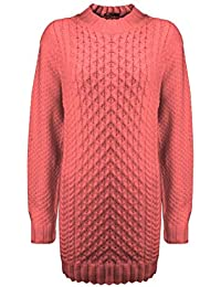 310fb1a54220fb Generation Fashion New Ladies Women Crew Neck Knitted Long Sleeve Cable Knit  Jumper Stretch Dress Top