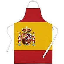 Impreso delantales para hombres–bandera de España para horno regalos delantal de cocina Cooking Chef regalo, 100% poliéster, Blanco, Talla única