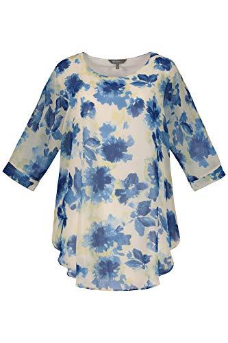 Ulla Popken Damen große Größen bis 64, Doppellagiges Shirt, Pflegeleichte Qualität, transparentes Blütenchiffon, 3/4-Fledermaus-Ärmel, blickdichtes Jerseytop, Offwhite-stahlblau 42/44 720662 21-42+ -