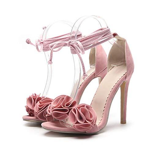 MENGLTX High Heels Sandalen Super Big Size 34-52 Sandalen Plattformen Fashion Open Toe Dünne High Heels (10Cm) Hochzeitsschuhe Frau Pumps 81-2 8 Pink -
