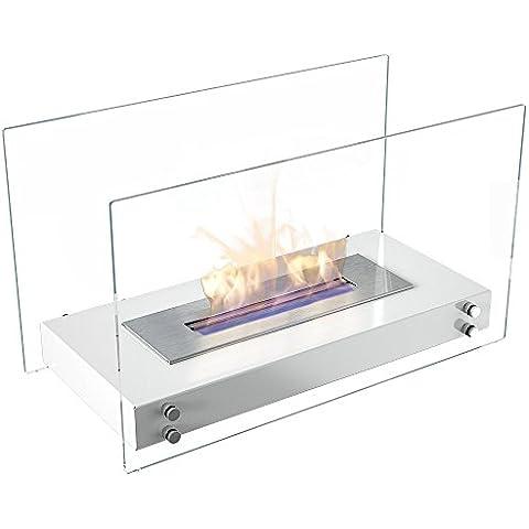 Etanol chimenea modelo Roma con sistema seguro de combustión, TÜV certificado, chimenea de mesa color: blanco