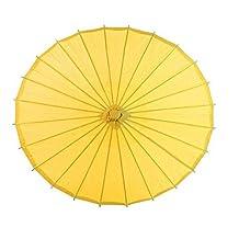 Ppower Paraguas estilo japonés chino bambú Sombrilla Paraguas de danza (Amarillo)