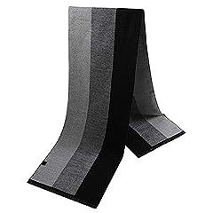Idea Regalo - HiCool Sciarpa Invernale Uomo, Sciarpa Termica Calda Morbida Sciarpa in Cashmere per Uomo (Striscia Grigia)