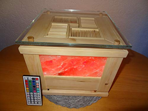 HimaZirb-Mini, Zirbenholz-Lüfter, Raumbedufter, Luftreiniger, Duftspender, Lufterfrischer, Luftbefeuchter aus Zirbenholz und Himalayasalszsteinen, zur Aromatherapie Lichttherapie geeignet