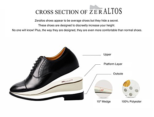Zeraltos - Chassures réhaussantes pour homme, +6.5 Cm plus grand! Chaussures en cuir de qualité Marron