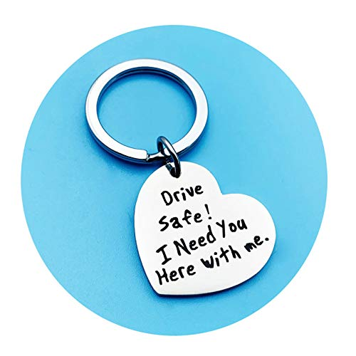 Amody Edelstahl warm Erinnerung schlüsselanhänger Charme Silber graviert Drive Safe Handsome für Männer Frauen Geschenke für Freunde Dad Ehemann