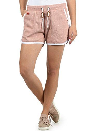 BlendShe Sanya Damen Sweatshorts Bermuda Shorts Kurze Hose Mit Fleece-Innenseite Und Punkte-Print Regular Fit, Größe:XS, Farbe:Misty Rose (20205)