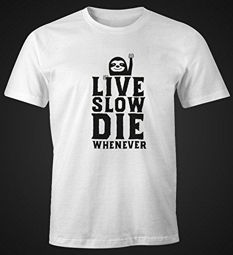 """Herren T-Shirt """"Live Slow Die Whenever"""" Fun-Shirt Slimfit aus weicher Baumwolle Moonworks® Weiß"""