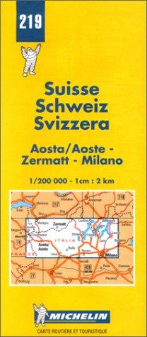 Carte routière : Aosta/Aoste - Zermatt - Milano, N° 219