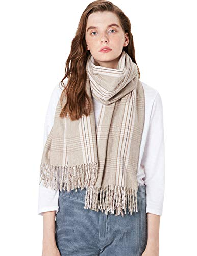 Baumwolle Plaid Khaki (MaaMgic Winter Schal Damenschal aus Baumwolle mit Tartan Karo Plaid, Winterschal mit Fransen, Klassische Frauen Schals, Khaki)
