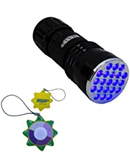 HQRP Profesional Linterna 21 LED UV Ultravioleta 380 nM Antorcha lámpara más HQRP Medidor del sol