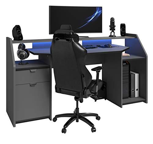 PEGANE Bureau pour Ordinateur, Station e-Gaming en Bois MDF - Dim : 180 x 67 x 92 cm