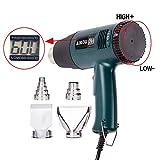 Pistolet à air chaud-1800W, 60-600℃,Pistolet thermique portatif à température réglable 220V avec affichage numérique et deux ventilateurs Chauffage rapide-AIKOU