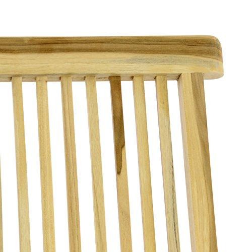 Divero DIVERO Stuhl 2er-Set Gartenstuhl Terrassenstuhl Klappstuhl aus Teak-Holz Hochlehner mit Armlehnen verstellbare Rückenlehne klappbar massiv unbehandelt natur