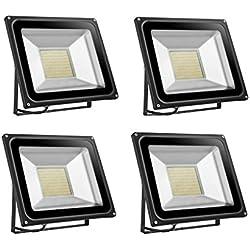 4×100W Étanche IP65 Lumière Blanc Chaud Himanjie LED Spot Projecteur ,Extérieur et Intérieur pour Jardin, Terrasse, Square,Cour,Usine [Classe énergétique A+]