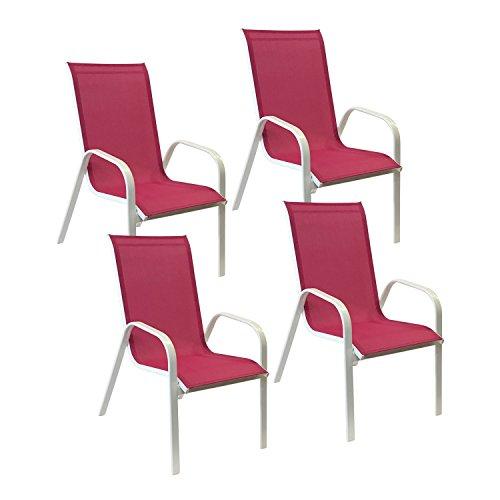 Happy Garden Lot de 4 chaises Marbella en textilène Rose - Aluminium Blanc