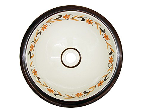 Lavabo o fregadero rustico de cerámica redondo con cenefa marrón.
