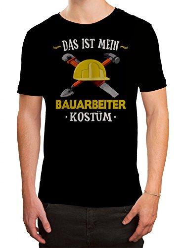 Herren Bauarbeiter Kostüm - Kostüm Bauarbeiter Premium T-Shirt Verkleidung Karneval Fasching Herren Shirt, Farbe:Schwarz (Deep Black L190);Größe:XL