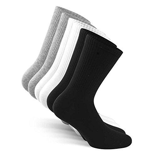 Snocks Crew Socken Sportsocken Herren Weiß Größe 43-46 Gr 43 44 45 46 Weiße Männer Tennissocken Socken Weisse Sport Socken Weiss Laufsocken Wandersocken Baumwolle Lange Socks Tennis Herrensocken