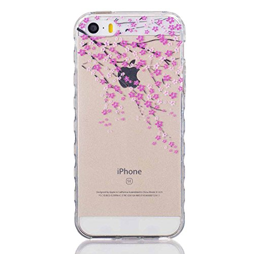 Apple iPhone 5/5S/SE Silicone Coque, Yaking® (3 in 1) Silicone TPU Case Crystal clear Transparent Cover Étui Housse pour Apple iPhone 5/5S/SE P-3