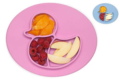 Rutschfester Silikonteller Baby, Teller mit Saugnapf, Esslernteller BPA-frei, Tischset Hochstuhl, Essmatte mit Saugnapf, schadstofffrei, Babyplatte für Led Weaning, Geschirr (Ente, violett)