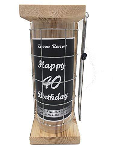Happy Birthday 40 Eiserne Reserve Spardose incl. Säge zum zersägen des Gitter, Geldgeschenk, das andere Sparschwein, witzige Sparbüchse, Geschenkidee