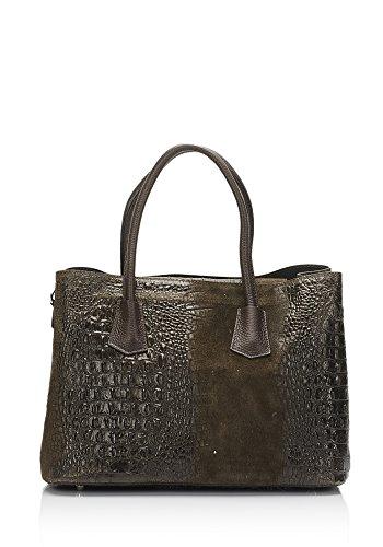 Laura Moretti - Borsa pelle in rilievo di coccodrillo e pelle crosta con portafoglio rimovibile Marrone scuro