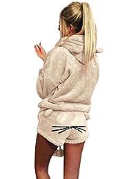 Yvelands, Sudadera con Capucha del Color Sólido Caliente del Invierno de Las Mujeres Ropa de Dormir Bordada ¡Pijamas Lindos del…