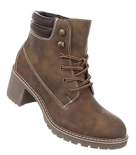 Damen Schuhe Stiefeletten Used Optik Schnürer Boots Hellbraun 38