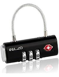 Elzo Candado de Seguridad TSA con Combinación, Candado Gimnasio de 3 Dígitos para Equipaje Maleta o Bolsa de Viaje, Candado Maleta 2 Unidades con Cierre de Cable