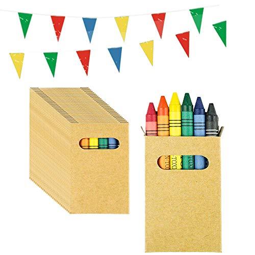 Partituki Gadget Compleanno Bambini 50 Sets di 6 Pastelli Cera Colorati e Una Ghirlanda di 10 Metri. Ideale per Regalini Fine Festa Bambini e Pignatta