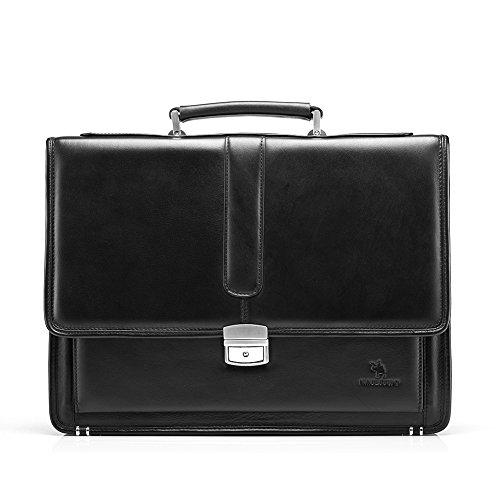 15d5682d6a Borsa Organizer da Portadocumenti Vera per 14 Laptop Tablet e Notebook uomo  nero pelle