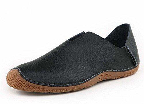 NobS Hommes Cuir caoutchouc Peau Bouche sabots Chaussures Tête ronde Flats respirant Casual Shoes Black