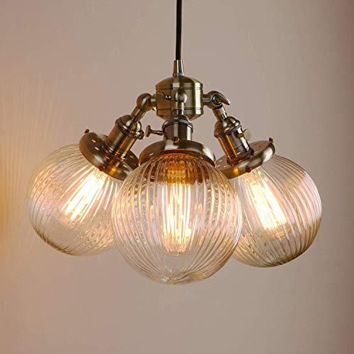 Pathson Industrielle Moderne Vintage Loft Bar 3 Lichter Pendelleuchten Deckenleuchten Insel Esszimmer Schlafzimmer Hängende Bronze Leuchten Kronleuchter E27 mit geripptem Klarglas Globus Lampenschirm -