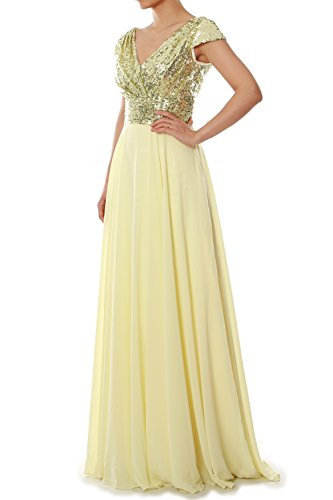 MACloth - Robe - Trapèze - Manches Courtes - Femme Light Gold
