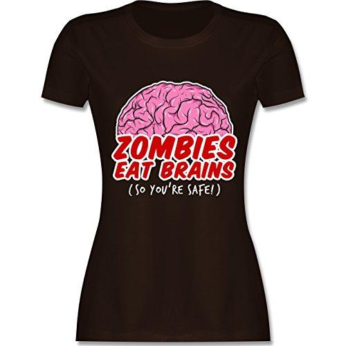 Halloween - Zombies eat Brains - so You´re Safe! - L - Braun - L191 - Damen Tshirt und Frauen T-Shirt (Halloween Zombie-marke 2019)