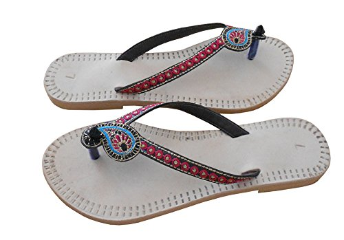 kalra Creations Femme Chaussons Casual en Cuir traditionnel indien Crème