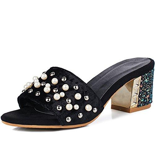KingRover Women's Summer Velvet Pearl Sandal - Block Heel Dressy Trendy Slide - Slip On Soft Slippers (Womens Slide Slipper)