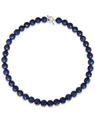 Lapislazuli Halskette, natürlicher Lapislazuli, dunkelblau, rund, faceted, 10mm