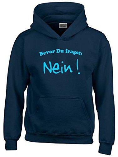 BEVOR DU FRAGST - NEIN ! Kinder Sweatshirt mit Kapuze HOODIE navy-sky, Gr.152cm (Tennis-mädchen Sweatshirt)