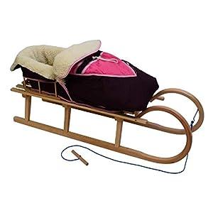Best For Kids Hörnerrodel 120 cm mit Rückenlehne + Fußsack Wika + Zugleine Rodelschlitten Davoser aus Holz bis 200 kg belastbar viele Farben