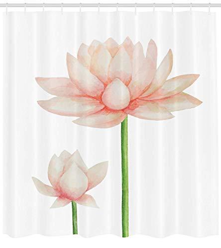 Mucuum Yoga Duschvorhang Pastell gefärbt blühenden Lotus Blumenblume Romantische Frischgarten-Spa-Spa-Thema Tuch Fabric Bad Behälter-Set mit Hooks Peach Green - Pastell-behälter