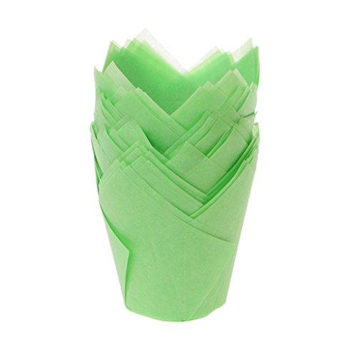 Xuniu 50Stück Tulip Cupcake Liner Backförmchen Papier Cupcake und Muffin Backförmchen für Hochzeiten und Geburtstage, grün, 5cm/1.97