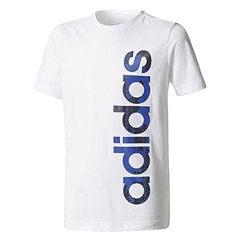 adidas Jungen Linear T-Shirt, White, 176 (Herren Volles Logo T-shirt)
