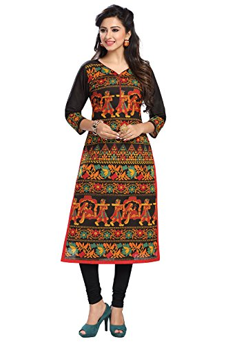 Ishin Cambric Cotton Black Printed Party Wear Wedding Wear Casual Daily Wear Office Wear Festive Wear Bollywood New Collection Latest Design Trendy Women\'s Unstitched Kurti/Kurta Fabric (Only Top Fab