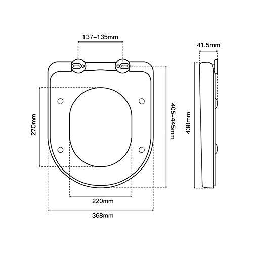 Tapa de wc,  Dalmo TBTS01B Asiento de Inodoro Blanco,  Tapa de inodoro en forma de D y realizado en material UF,  con Cierre suave y Antideslizante,  Tapa y Asiento para wc con 2 Botones de Liberacion