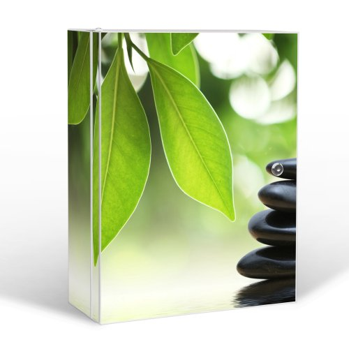 banjado Medizinschrank groß abschließbar|Arzneischrank 35x46x15cm|Medikamentenschrank aus Metall weiß mit Motiv Steine&Relax