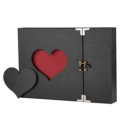 Firbon A4 Album DIY per Foto, Scrapbook, Sticker. Diario Creativo con Incisione a Forma di Cuore, Idea Regalo (Nero)